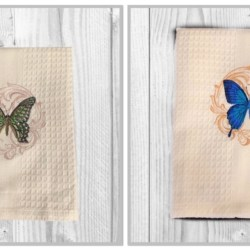 EMBROIDERED TEA TOWEL – ' BUTTERFLY '