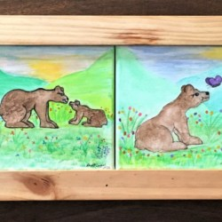 Bear Cub Adventures – 4 Watercolour painted canvas's in Custom Made Pine & Jarrah Frame All signed originals – Free postage