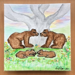 Bear Family – Tree of Life and Love – Original Signed Watercolour Floating Frame Satin Varnish Finish – Free Postage