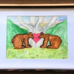 Valentine Bears with the Tree of Life and Love – Original Signed Water Colour Framed – Free Postage