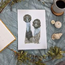 EMMA & ERNIE – Emus Art Print