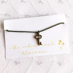 Key Charm Bracelet, Tie On Key Bracelet