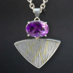 Silver and 18ct Gold Pendant with Rutile Amethyst