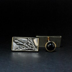 9ct Gold and Silver Cufflinks with Onyx