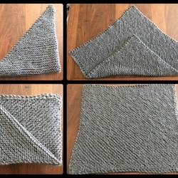 Hand Knitted Chunky Square Lap Blanket 75cm x 75cm – Diagonal Pattern