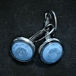 Pretty Blue and Silver Glitter Lever-back Earrings