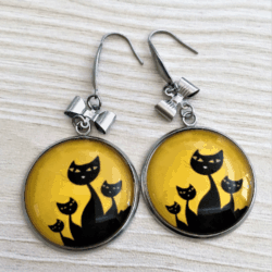 Cute Glow in the Dark Cat with Bows Dangle Earrings – stainless steel