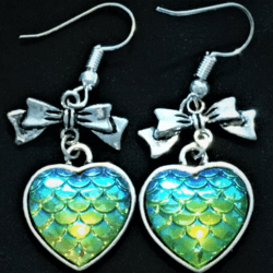 Cute Mermaid Scale Hearts with Bows Dangle Earrings