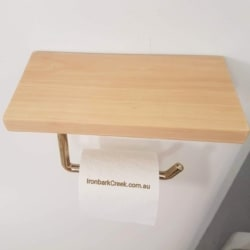 Pine toilet roll holder with a shelf.