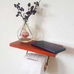 Mahogany toilet roll holder with a beautiful handcrafted shelf.