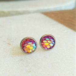 Fuchsia Mermaid Children's Stud Earrings