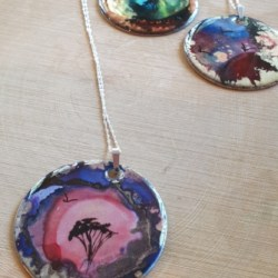 Hand painted pendant with sterling silver chain, strikingly different jewellery
