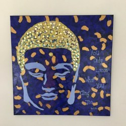 Blue Gold Buddha Quote sequined Painting Canvas Art Kim Magee Abstract Artwork