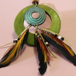 Long Rope Necklace Womens Boho Jewellery Wood Feathers Tribal Pendant New