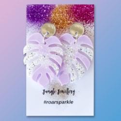 Monstera Leaf Dangle Earrings – Pastel Purple