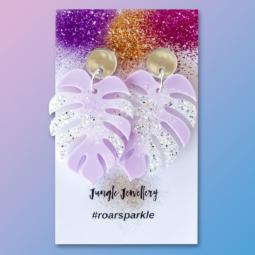 pastel purple monstera leaf earrings