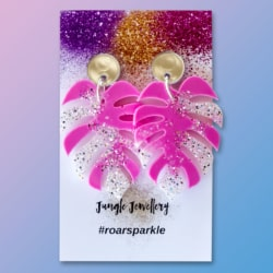 Monstera Leaf Dangle Earrings – Pastel Pink and Silver