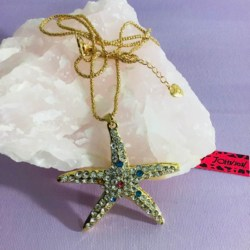 Crystal Starfish Pendant Necklace Sweater Chain Womens Jewellery New