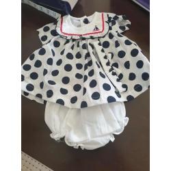 Babies polka dot dress and pants with headband sizes newborn 0-3 months 3-6 months