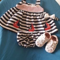 Sailor dress and pants sizes 3-6 mths 6-9 mths