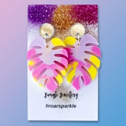 Monstera Leaf Dangle Earrings – Pastel