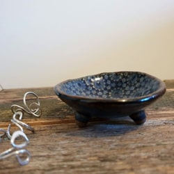 Pattern Blue Pottery Handmade Trinket Dishes (with Handmade Mulberry Paper Packaging)