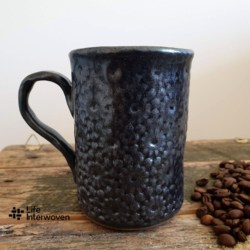 Black Charcoal Pottery Coffee Mug with Handmade Mulberry Paper Packaging