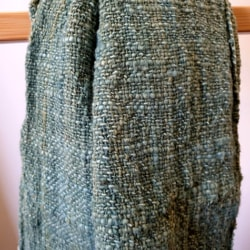 Handwoven Natural Dyed Cotton Scarf – Forest Green