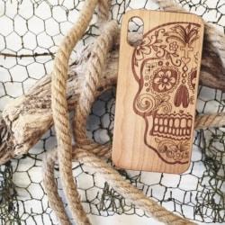 Sugar skull wooden phone case