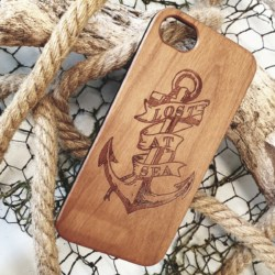 Lost at sea wooden phone case