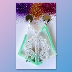 Eve Statement Dangle Earrings – Pastel Mint and Silver