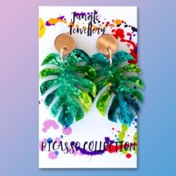 Monstera Leaf Dangle Earrings – Picasso