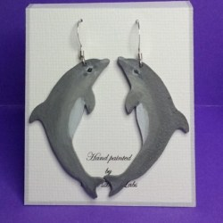 Hand Painted Earrings (Dolphins)