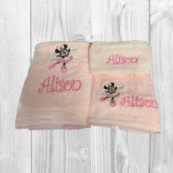 EMBROIDERED BATH TOWEL SET – ' BALLET MINNIE MOUSE '