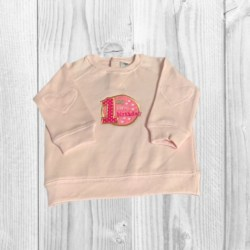 LONG SLEEVE JUMPER – SIZE 1 – EMBROIDERED ' MY FIRST BIRTHDAY'