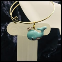 Cute Whales with Rhinestones Expandable Bangle – Child size – 3 Colours