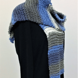 Hand Knitted – Knit Unisex Scarf – Denim Blue
