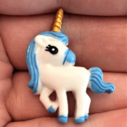 Cute Unicorn with Blue Mane and Golden Horn Brooch / Pin / Embellishment