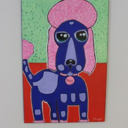 Pink Poodle Painting Acrylic Canvas Art By Kim Magee Children's Room Wall Art