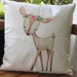 Cushion. Woodland deer pink