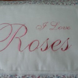 "embroidered cushion ""I Love Roses"""