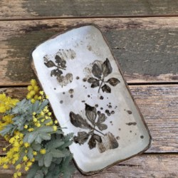 White Brown Rectangle Ceramic Plate Pottery Imprint Wild Plants with Handmade Mulberry Paper Packaging
