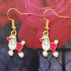 Earrings Pink White French Poodle Dogs Animals Enamel Charms Girls Jewellery New