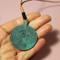 Circle Antique Green Pendant Necklace Rope Chain Sweater Statement Jewellery Women Gift