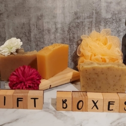 Gift Box products / type – 1 soap & 1 wooden soap dish from Dawn View Olive Oil – price includes postage.