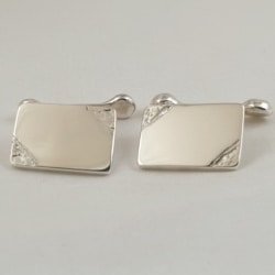 Sterling Silver Engraved Cufflinks with Chain and Toggle