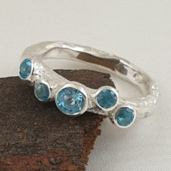 Organic Sterling Silver Ring with Swiss Blue Topaz