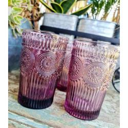 4pc GLASSES – VINTAGE TALL TUMBLERS – DARK PINK