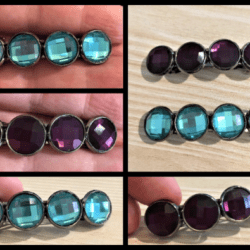 Classic Faceted Hair Barrettes / Hair Clips – 2 Colours