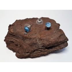 Light Blue Rhinestone Button Earrings